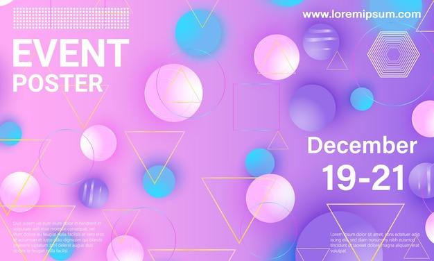 Locandina dell'evento. con elementi geometrici colorati. Vettore Premium