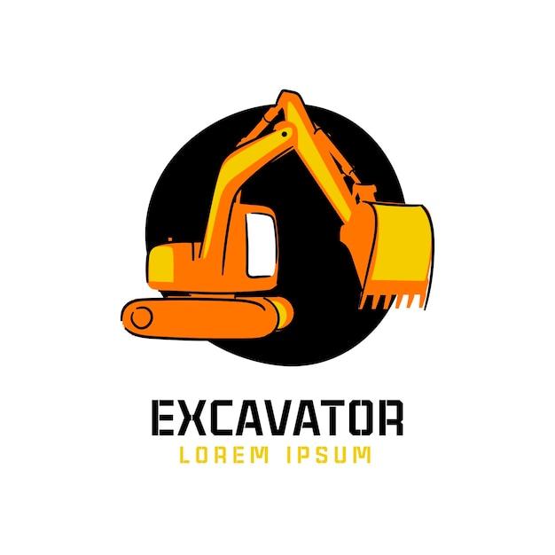 Logo di costruzione exacavator Vettore Premium
