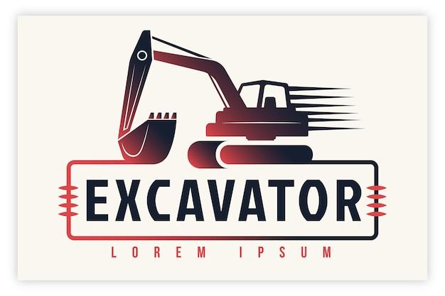 Concetto di logo di costruzione di escavatori Vettore Premium