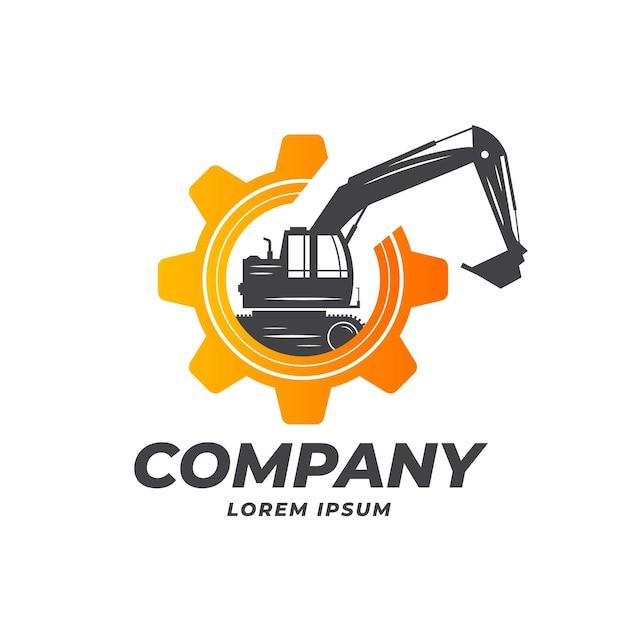 Modello di logo di escavatore e costruzione con attrezzi Vettore Premium