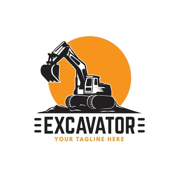 Modello di logo di escavatore e costruzione Vettore Premium
