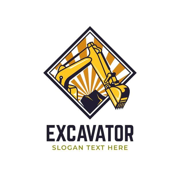 Escavatore e logo di costruzione Vettore Premium
