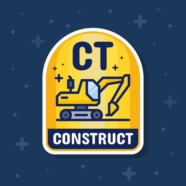 Banner di distintivo di servizio escavatore e costruzione Vettore Premium