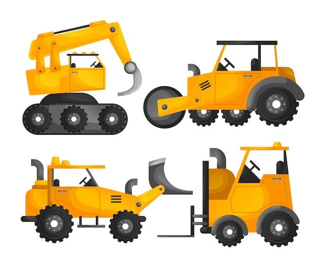 Collezione di macchine per escavatori Vettore Premium