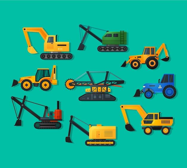 Icone di escavatori in stile piatto e lunga ombra. escavatore minerario e escavatore di camion, vecchio e moderno. Vettore Premium
