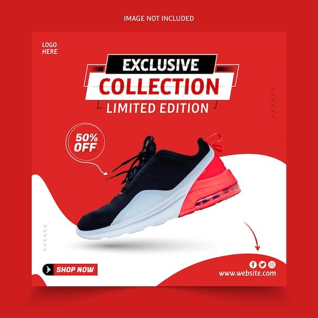 Esclusiva raccolta di scarpe sui social media post Vettore Premium