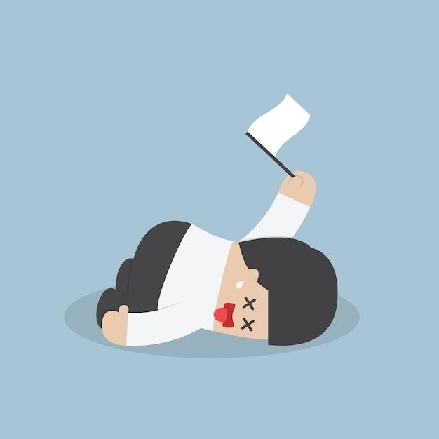 Esausto imprenditore sdraiato sul pavimento e arrendersi Vettore Premium