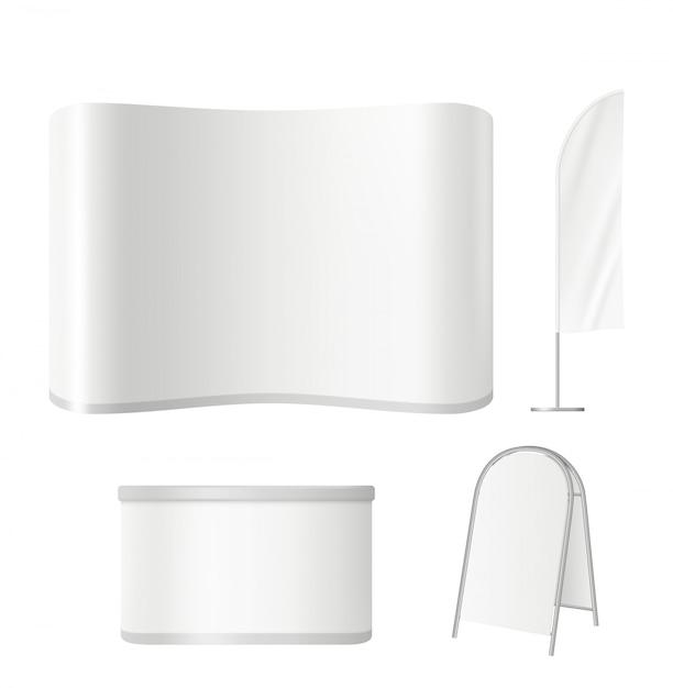 Stand espositivi. lo schermo vuoto del tabellone di evento di pubblicità rotola sul manifesto in bianco e sul modello realistico di vettore promozionale della parete Vettore Premium