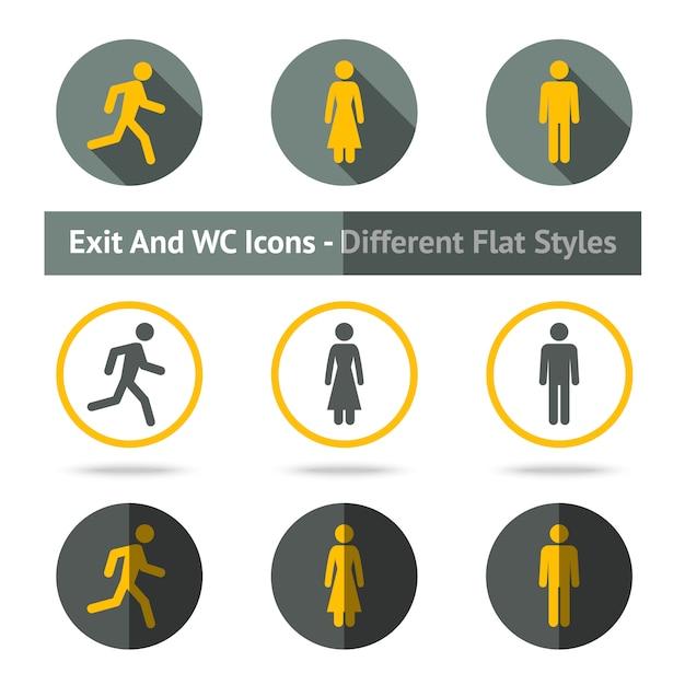 Set di icone di uscita e wc. in diversi stili piatti. Vettore Premium