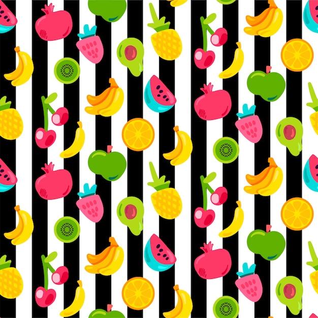 Frutti esotici su strisce senza cuciture. frutta estiva, ciliegia su sfondo a strisce bianche e nere Vettore Premium
