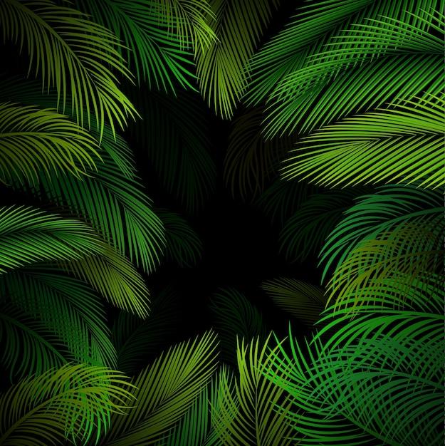 Modello esotico con foglie di palma tropicale Vettore Premium