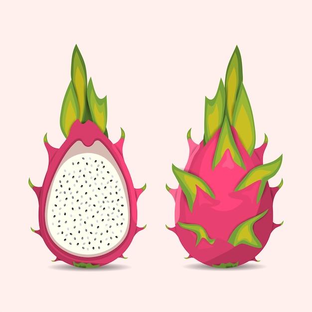 Frutta esotica del drago tropicale. Vettore Premium