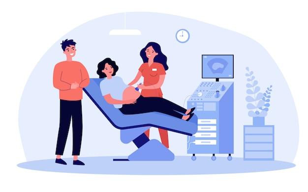 In attesa di coppia in visita dal medico per il test ecografico Vettore Premium