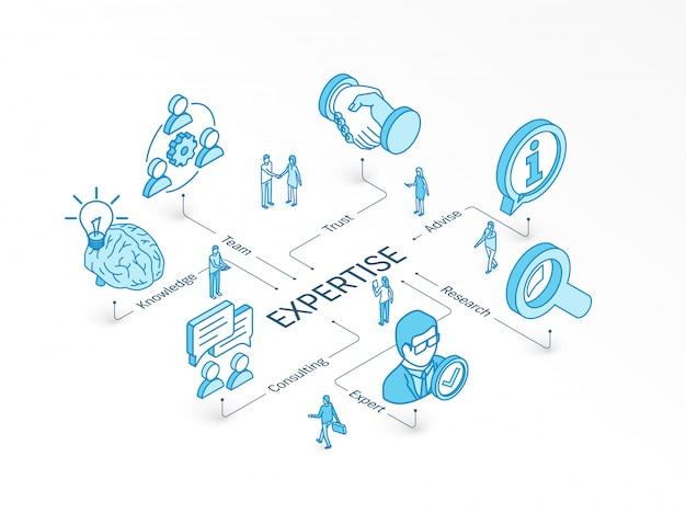 Competenza concetto isometrico. sistema infografico integrato. persone lavoro di squadra. servizio esperto, consulenza, ricerca, simboli di consulenza del team. conoscenza, fiducia, pittogramma di consulenza Vettore Premium