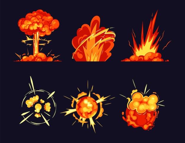 Esplosione scoppia fiamme di fuoco scoppi e icone di boom Vettore Premium
