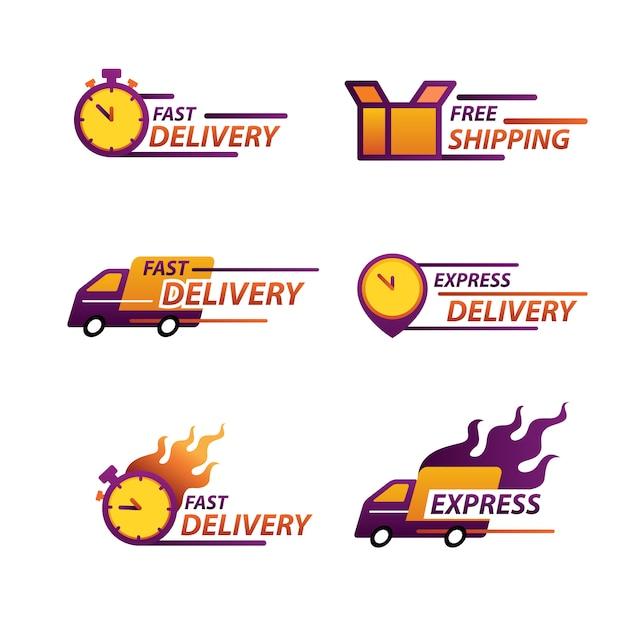 Logo di consegna espressa per app e sito web. concetto di consegna. Vettore Premium