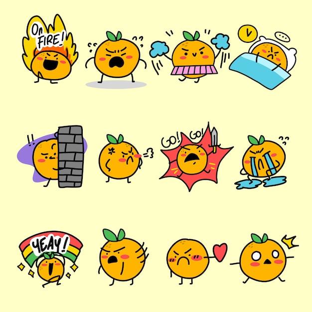 Espressivo orange mascot character illustrazione asset collection Vettore Premium