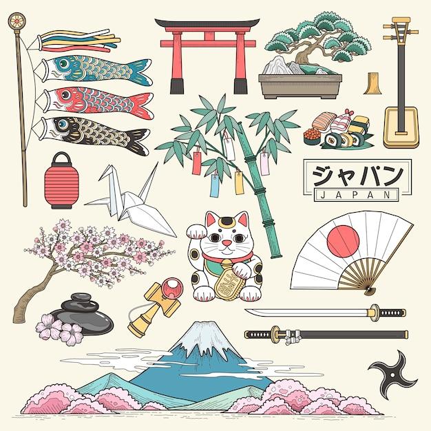 Squisita collezione di elementi da viaggio in giappone in stile linea nome del paese giapponese in parole giapponesi Vettore Premium
