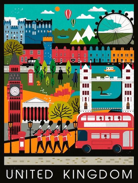 Design accattivante del poster di viaggio del regno unito in stile piatto Vettore Premium