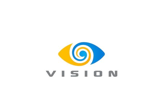 Logo dell'occhio isolato su bianco Vettore Premium