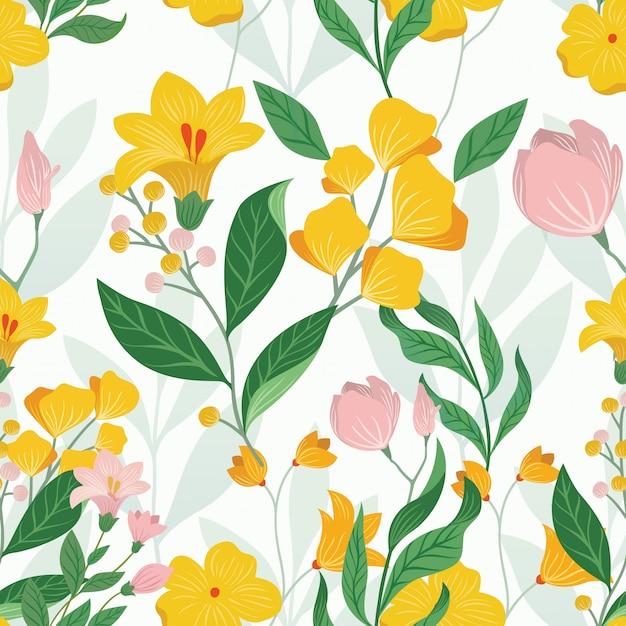 Favoloso floreale colorato senza soluzione di continuità Vettore Premium