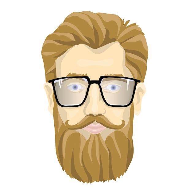 Il volto di un uomo barbuto con gli occhiali. illustrazione ritratto, isolato su sfondo bianco. Vettore Premium