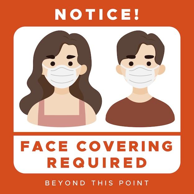 Segno di copertura del viso richiesto Vettore Premium