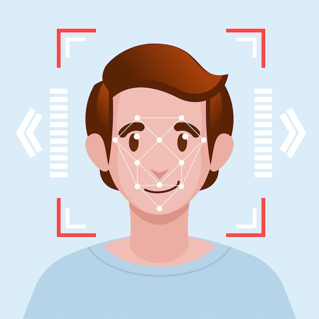 Face identification facial recognition system concept. Vettore Premium