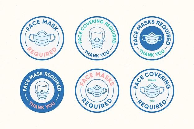 Maschera facciale richiesta - raccolta segni Vettore Premium