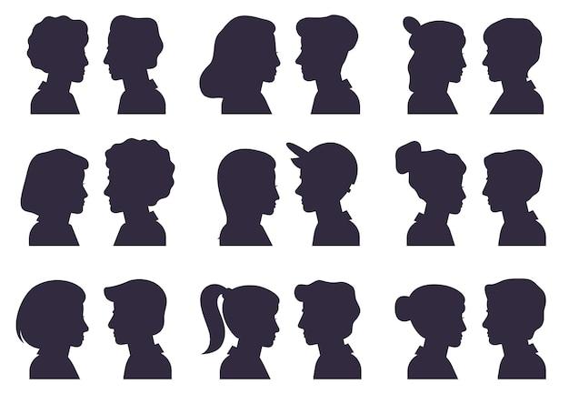 Sagome di profilo del viso. sagome di teste maschili e femminili, donna e uomo avatar ritratti piatto vettoriale Vettore Premium