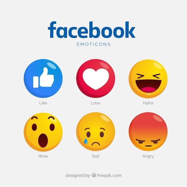 Raccolta di emoticon di facebook con volti diversi Vettore Premium