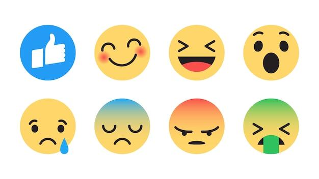 Insieme di emoji di vettore piano di facebook Vettore Premium