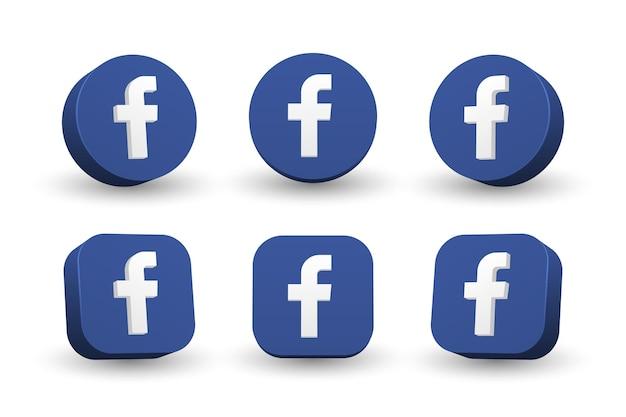 Collezione di icone logo facebook isolato su bianco Vettore Premium