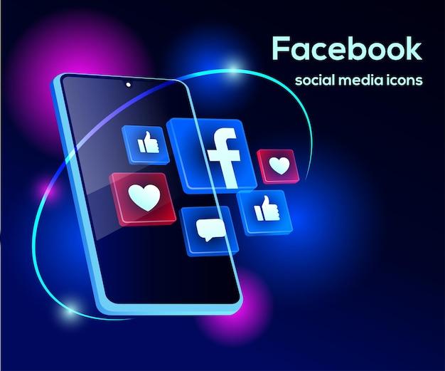 Icone di social media di facebook con il simbolo dello smartphone Vettore Premium