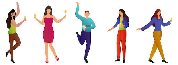 Persone senza volto che celebrano con bevande su sfondo bianco. Vettore Premium