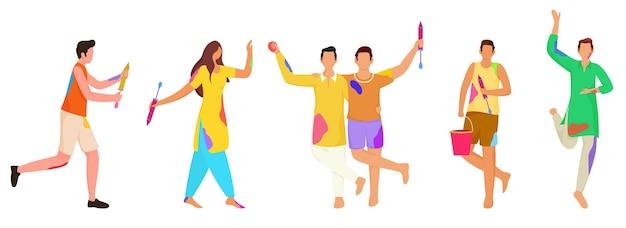 Senza volto giovani indiani che celebrano il festival di holi insieme su sfondo bianco. Vettore Premium