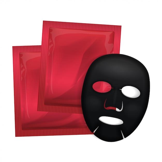 Maschera nera per il viso. pacchetto di cosmetici. progettazione di pacchetto di vettore per la maschera su bianco Vettore Premium