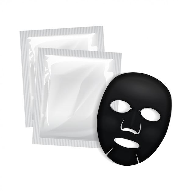Maschera nera per il viso. pacchetto di cosmetici Vettore Premium