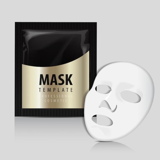 Maschera bianca per il viso. pacchetto oro cosmetici. Vettore Premium