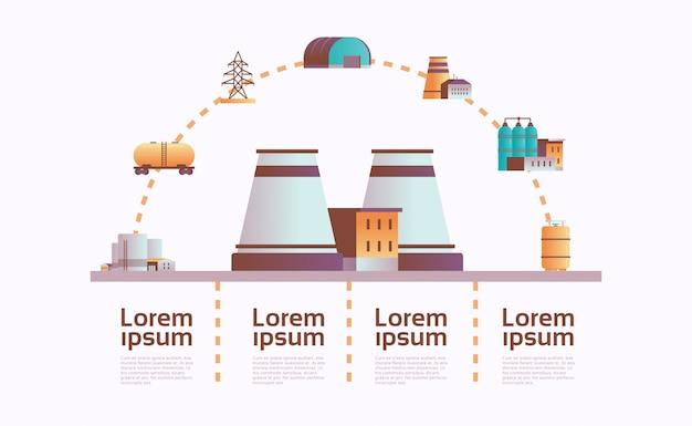 Impianto di fabbrica icona infografica modello pianta con tubi e camino Vettore Premium