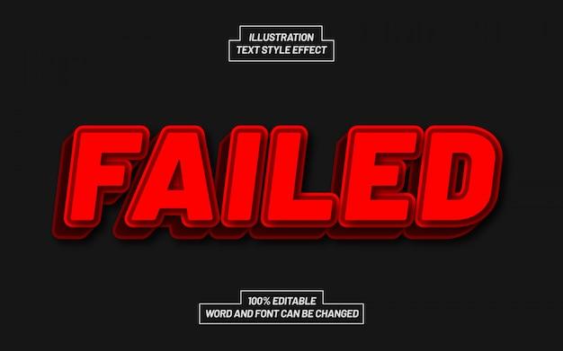 Effetto stile testo rosso non riuscito Vettore Premium