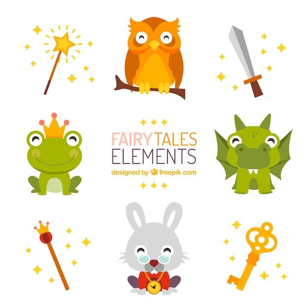 Elementi fairy tales Vettore Premium
