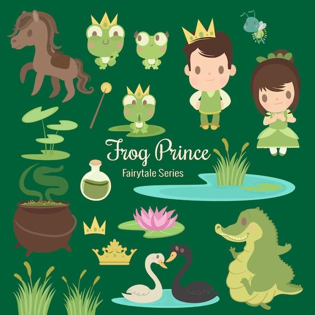 Principe delle rane serie fairytale Vettore Premium