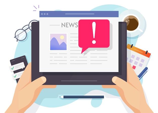 Notizie false in linea importanti ultime notizie concetto su tablet digitale quotidiano lettura computer persona uomo Vettore Premium