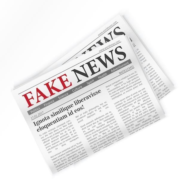 Illustrazione isolata giornale realistico di notizie false Vettore Premium