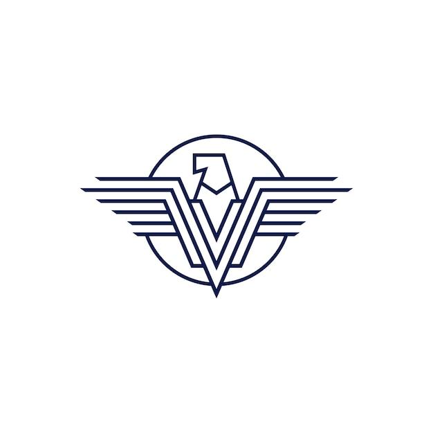 Falcon aquila v lettera ali logo Vettore Premium