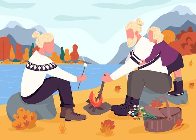 Illustrazione di colore piatto autunno picnic. madre e padre arrostiscono marshmallow con la figlia. vacanze autunnali in montagna. personaggi dei cartoni animati 2d della famiglia nordica con paesaggio sullo sfondo Vettore Premium