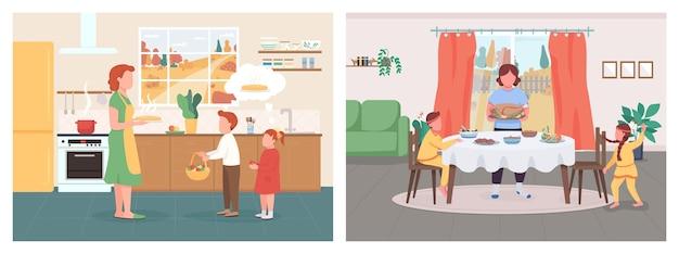 Set di colori piatti per la cena stagionale autunnale. la madre con i bambini celebra il ringraziamento. la mamma dà ai bambini la torta di mele. personaggi dei cartoni animati di famiglia 2d con interni sulla raccolta di sfondo Vettore Premium
