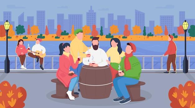 Illustrazione di colore piatto di picnic urbano di caduta Vettore Premium