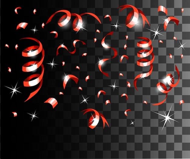 Coriandoli rossi che cadono e decorazioni natalizie con nastri rossi sulla pagina del sito web con sfondo trasparente e sull'app mobile Vettore Premium